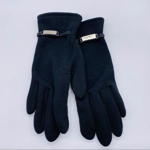Nine West Womens Black fabric Leather grip Gloves
